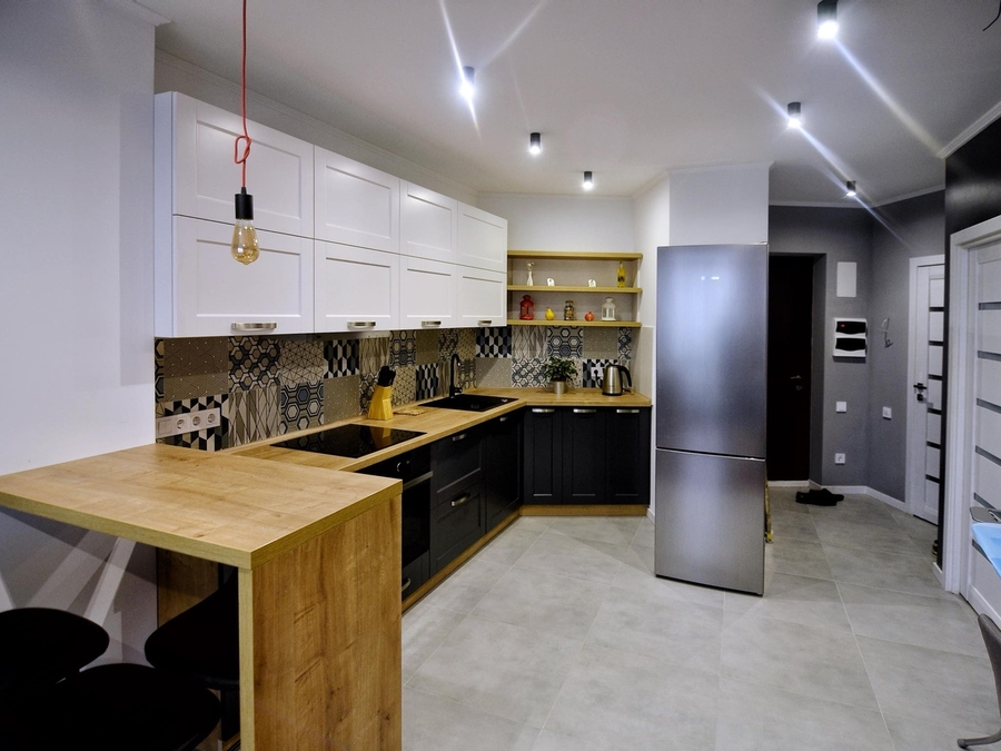 Белый кухонный гарнитур-Кухня МДФ в пленке ПВХ «Модель 112»-фото1