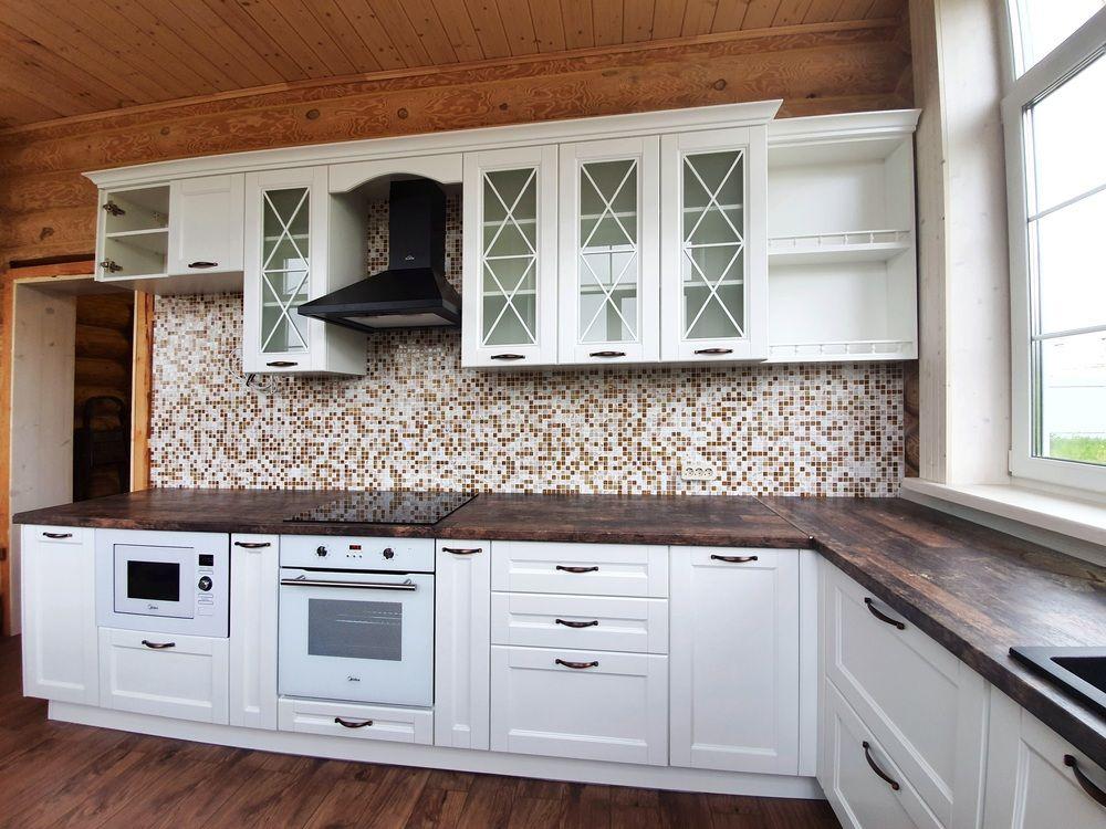 Белый кухонный гарнитур-Кухня МДФ в эмали «Модель 525»-фото3