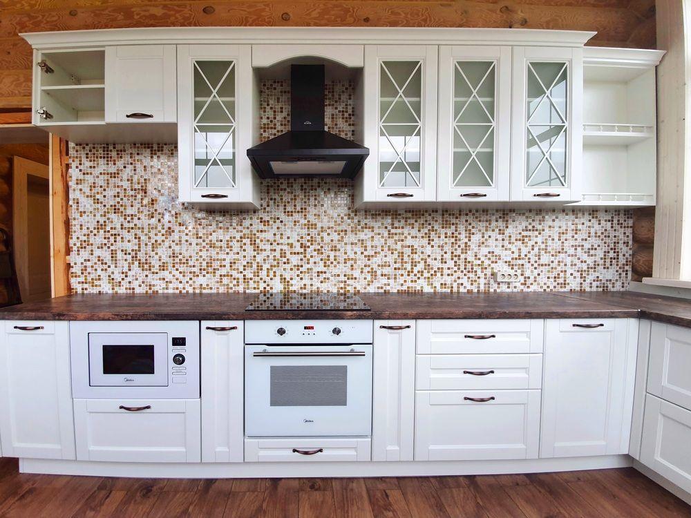 Белый кухонный гарнитур-Кухня МДФ в эмали «Модель 525»-фото2