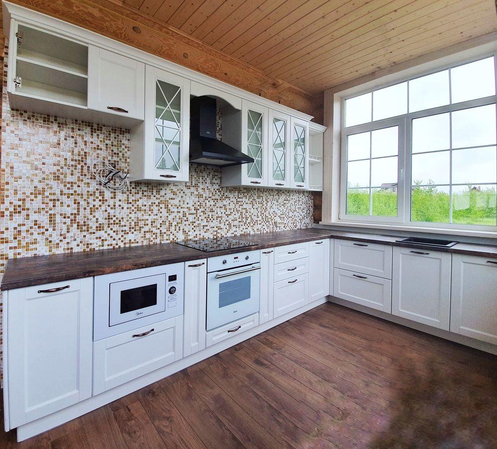 Белый кухонный гарнитур-Кухня МДФ в эмали «Модель 525»-фото1