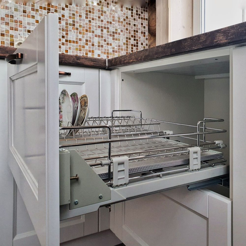 Белый кухонный гарнитур-Кухня МДФ в эмали «Модель 525»-фото9