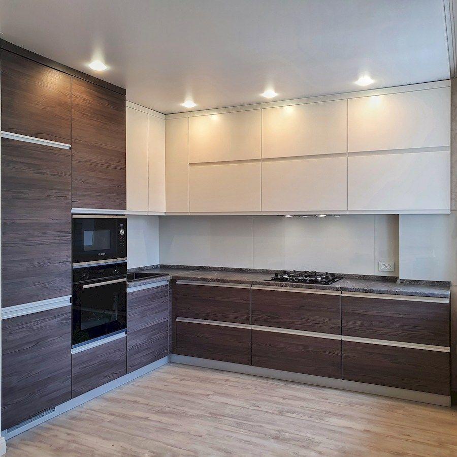 Белый кухонный гарнитур-Кухня из пластика «Модель 539»-фото1