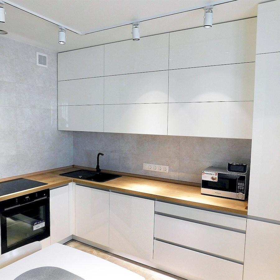 Белый кухонный гарнитур-Кухня МДФ в эмали «Модель 593»-фото1