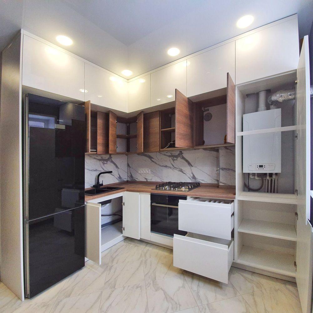 Белый кухонный гарнитур-Кухня МДФ в эмали «Модель 529»-фото4