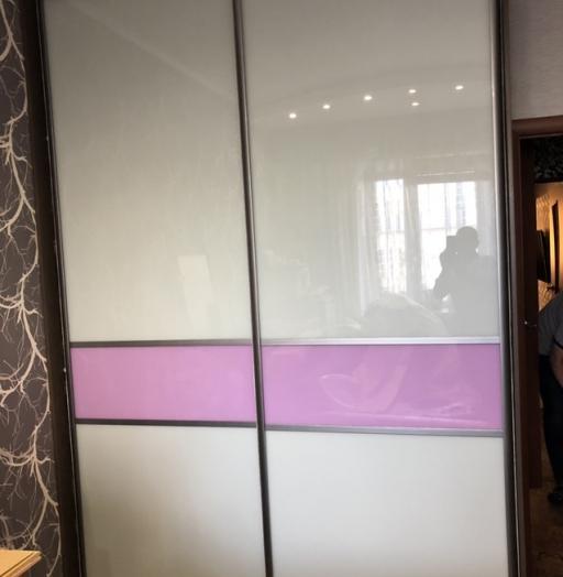 Бельевой шкаф-купе-Шкаф-купе из стекла c Oracal «Модель 473»-фото3