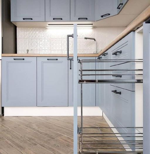Высокие кухни под потолок-Кухня МДФ в эмали «Модель 640»-фото9